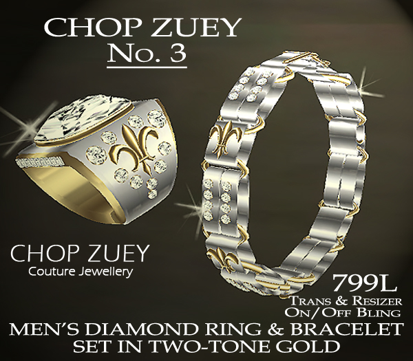 No. 3 Men's Diamond Ring and Bracelet Set in Two-Tone Gold