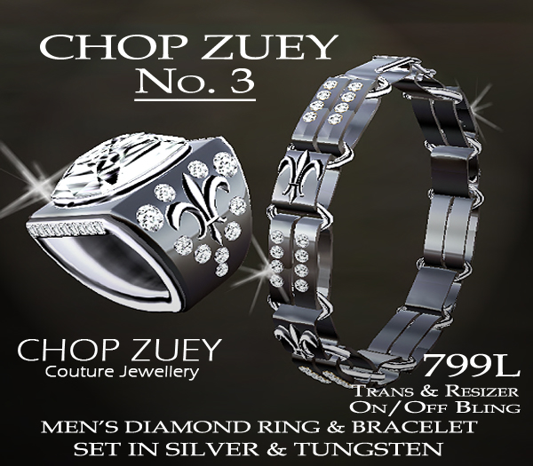 No. 3 Men's Diamond Ring and Bracelet Set in Silver & Tungsten.