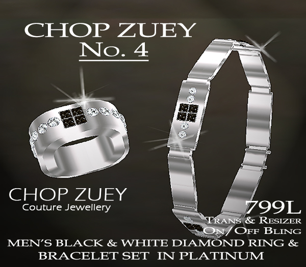 No. 4 Men's Black and White Diamond Ring and Bracelet Set in Platinum.