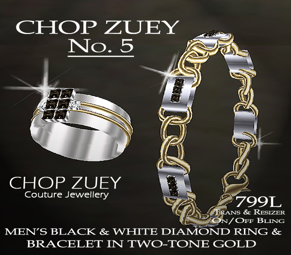 No. 5 Men's Black and White Diamond Ring and Bracelet Set in Two-Tone Gold.