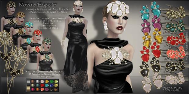 ChopZuey-Reve d'Espoir -Black Gown-JewellerySet