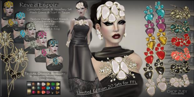 ChopZuey-Reve d'Espoir -Taupe Gown-JewellerySet -FFL