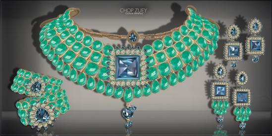 Chandrani Set Ad -Grn-Blu