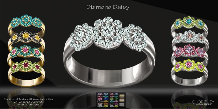 Diamond Daisy Texture Change Ring