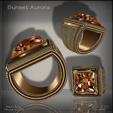 Sunset Aurora Mens Ring